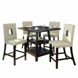 "CorLiving DIP-490-Z2 Bistro 5pc 36"" Counter Height Cappuccino Dining Set  - White Leatherette"