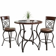 CorLiving DJS-923-Z3 Jericho 3pc Counter Height Rustic Brown Barstool & Bistro Table Set