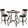 CorLiving DJS-923-Z4 Jericho 3pc Counter Height Matte Brown Barstool & Bistro Table Set