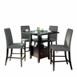 "CorLiving DPP-690-Z2 Bistro 5pc 36"" Counter Height Cappuccino Dining Set - Pewter Grey"