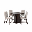 "CorLiving DWP-390-Z1 Bistro 5pc 36"" Counter Height Cappuccino Dining Set - Tufted Platinum Sage"