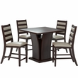 "CorLiving DWP-390-Z3 Bistro 5pc 36"" Counter Height Cappuccino Dining Set - Platinum Sage"