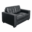 CorLiving LZY-101-L Club Tufted Black Bonded Leather Loveseat