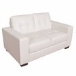 CorLiving LZY-111-L Club Tufted White Bonded Leather Loveseat