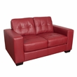 CorLiving LZY-151-L Club Tufted Red Bonded Leather Loveseat