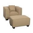 CorLiving LZY-868-Z6 Lida 2pc Beige Fabric Chair & Ottoman Set