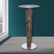 Crystal Bar Table w/ Walnut Veneer column & Brushed Stainless Steel finish w/ Clear Tempered Glass Top - Armen Living LCCRBTTO