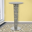 Crystal Pub Table w/ Gray Walnut Veneer column & Brushed Stainless Steel finish w/ Gray Tempered Glass Top - Armen Living LCCRBTTOGR