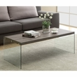 Dark Taupe Reclaimed-Look / Tempered Glass Cocktail Table - Monarch Specialty I-3054