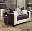 Emboss Loveseat Implosion Purple & Demsey White, Accent Pillows Deltona Amethyest - Chelsea Home Furniture 424120-15L-IP