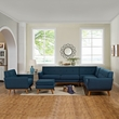 Engage 5 Piece Sectional Sofa in Azure - East End Imports EEI-2186-AZU-SET (Shipping Included)