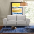 Everly Contemporary Loveseat in Genuine Dove Grey Leather w/ Brushed Stainless Steel Legs - Armen Living LCEV2GR