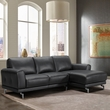 Everly Contemporary Sectional in Genuine Black Leather w/ Brushed Stainless Steel Legs - Armen Living LCEVSEBL