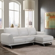 Everly Contemporary Sectional in Genuine Dove Grey Leather w/ Brushed Stainless Steel Legs - Armen Living LCEVSEGR