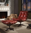 Gandy 2Pc Pk Chair & Ottoman in Antique Red Top Grain Leather - Acme Furniture 59531