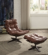 Gandy 2Pc Pk Chair & Ottoman in Retro Brown Top Grain Leather - Acme Furniture 59530