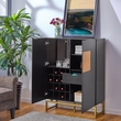 Garrett Anywhere Bar Cabinet - Contemporary Style - Black w/ Natural & Gold - Southern Enterprises HZ1065