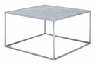 Gold Coast Faux Marble Coffee Table in Faux Marble / Silver - Convenience Concepts 413482S