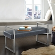 Grant Contemporary Bench in Grey Faux Leather & Brushed Stainless Steel Finish - Armen Living LCGNBEPUGR