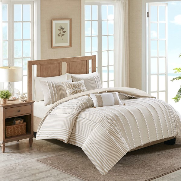 Harbor House Full/Queen 3 Piece Cotton Yarn Dyed Comforter Set In Taupe    Olliix HH10 1689