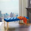 Hayley Contemporary Bench in Blue Velvet & Gold Stainless Steel Finish - Armen Living LCHYBEBLUE