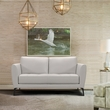 Hope Contemporary Loveseat in Genuine Dove Grey Leather w/ Black Metal Legs - Armen Living LCHP2GR
