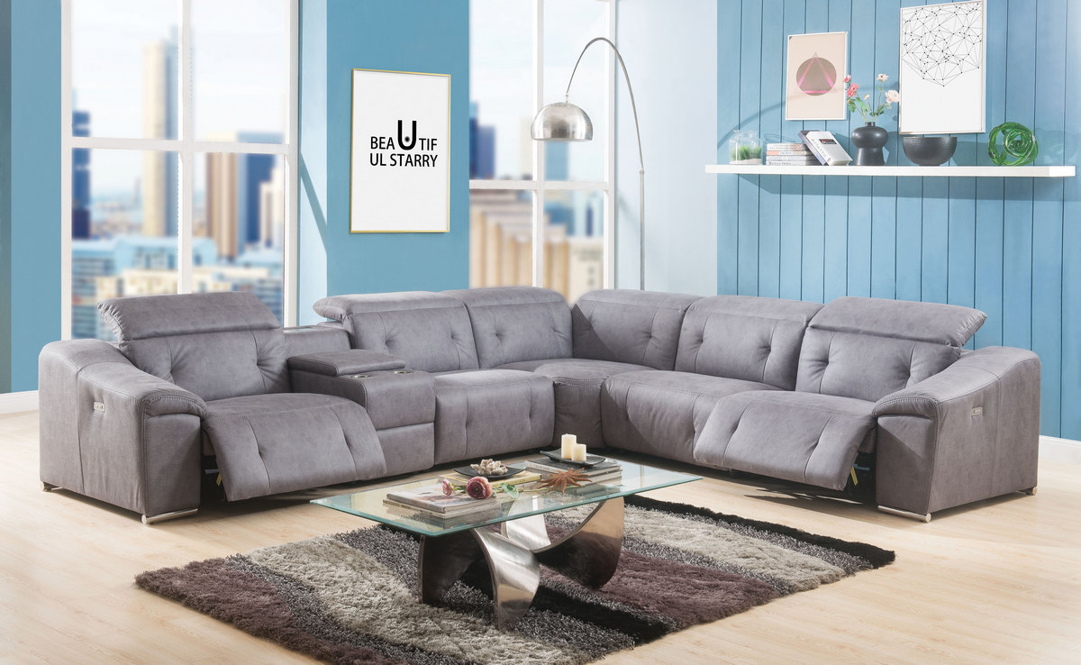 Hosta Sectional Sofa Power Motion In Gray Polished Microfiber Acme Furniture 52485