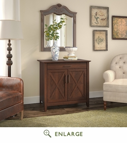 Key West Laptop Storage Credenza in Bing Cherry - Bush Furniture KWS132BC-03