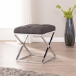 Kinsella Small Space Upholstered Stool in Gray w/ Chrome - Southern Enterprises BC8096