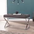 Kinsella Upholstered Bench in Gray w/ Chrome - Southern Enterprises BC8098