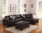 Kiva Sectional Sofa w/ 2 Pillows (Reversible) in Espresso Bonded Leather Match - Acme Furniture 51195