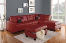 Kiva Sectional Sofa w/ 2 Pillows (Reversible) in Red Bonded Leather Match - Acme Furniture 51185