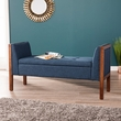 Landrum Upholstered Entryway Bench in Blue w/ Espresso - Southern Enterprises BC8091