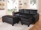 Lyssa Sectional Sofa (Rev. Chaise) w/ Ottoman in Black Bonded Leather Match - Acme Furniture 51215