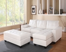 Lyssa Sectional Sofa (Rev. Chaise) w/ Ottoman in White Bonded Leather Match - Acme Furniture 51210