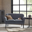 Madison Park Davenport Rolled Arm Settee in Charcoal - Olliix FPF18-0480