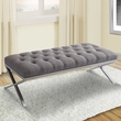 Milo Bench in Brushed Stainless Steel finish w/ Grey Fabric - Armen Living LCMIBEGR