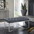 Noel Contemporary Bench in Grey Faux Leather & Brushed Stainless Steel Finish - Armen Living LCNLBEPUGR
