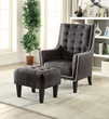 Ophelia 2Pc Pk Chair & Ottoman in Black Linen - Acme Furniture 59634