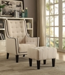 Ophelia 2Pc Pk Chair & Ottoman in Cream Linen - Acme Furniture 59632