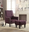 Ophelia 2Pc Pk Chair & Ottoman in Purple Linen - Acme Furniture 59630
