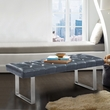 Plaza Contemporary Bench in Grey Faux Leather & Brushed Stainless Steel Finish - Armen Living LCPLBEPUGR