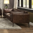Porchester Loveseat in Distress Chocolate Top Grain Leather - Acme Furniture 52481
