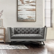 Regis Contemporary Loveseat in Grey Fabric w/ Black Metal Finish Legs & Antique Brown Nailhead Accents - Armen Living LCRE2GR