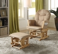 Rehan 2Pc Pk Glider Chair & Ottoman in Taupe Microfiber & Natural Oak - Acme Furniture 59332