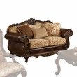 Remington Loveseat w/ 3 Pillows in Bonded Leather/Fabric & Cherry - Acme Furniture 50156