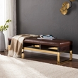 Renwick Upholstered Bench in Warm Russet w/ Espresso & Brass - Southern Enterprises BC6014