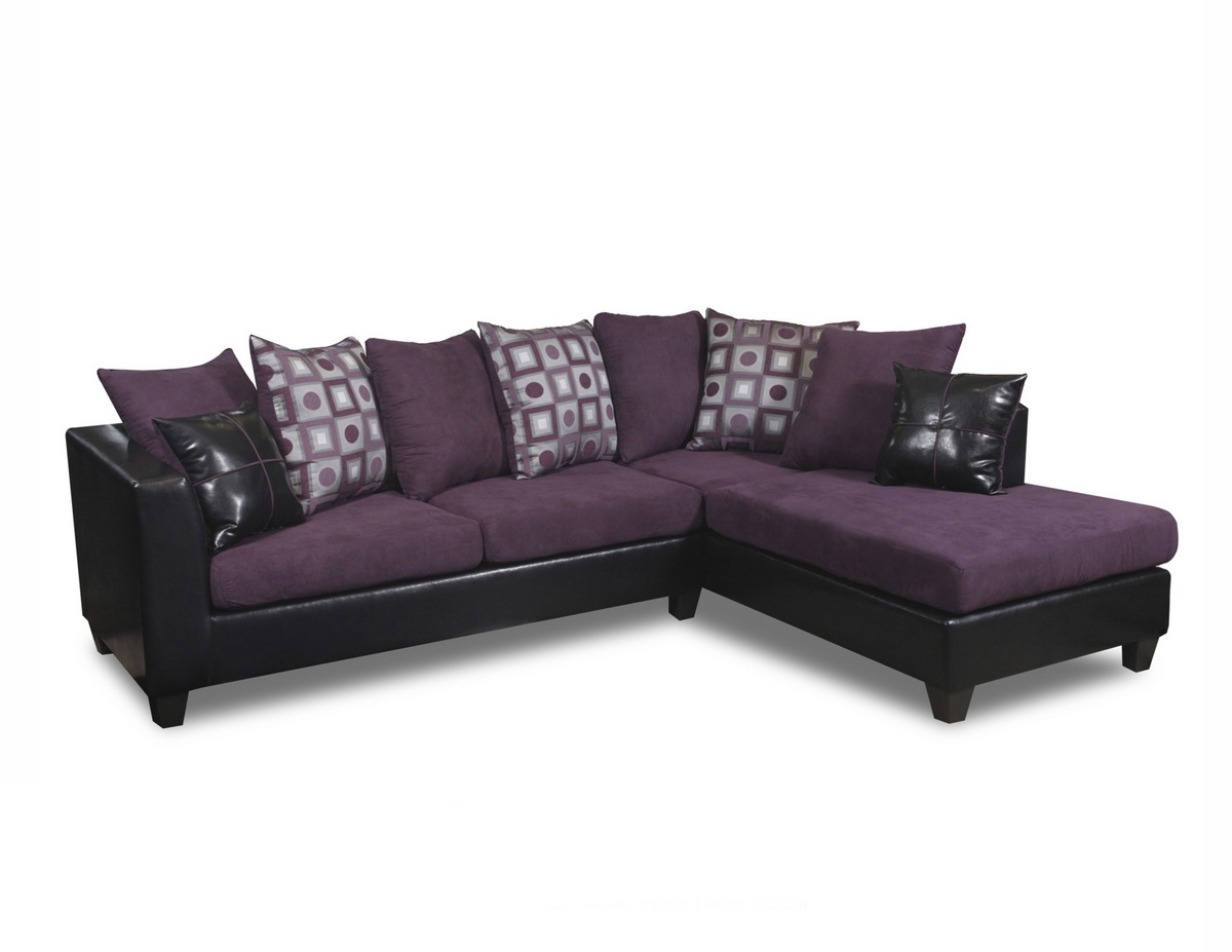 Reynaldo Sectional Denver Black   Nuovo Plum   Tudor Dahlia   Chelsea Home  Furniture 294185 SEC DBNP