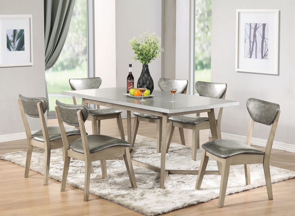 Rosetta Dining Table In Faux Marble White Washed Acme Furniture 72010