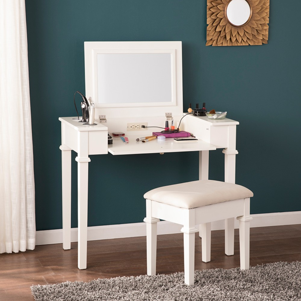 Rovelli Powered Vanity Desk W Stool In Off White Southern Enterprises Hz7592